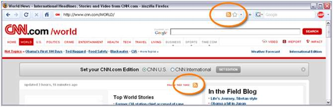 RSS Icons on CNN's website