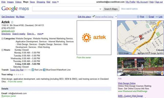 Aztek Web Google Places Page