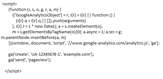 Universal Analytics code example