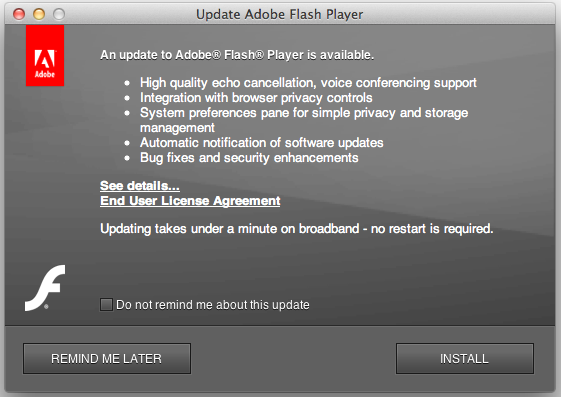 The dreaded Adobe Flash update screen