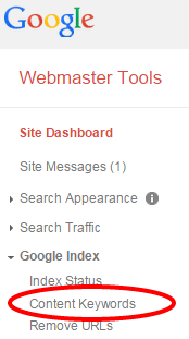Image of menu in Google Webmaster tools, with a circle around the Content Keywords report.