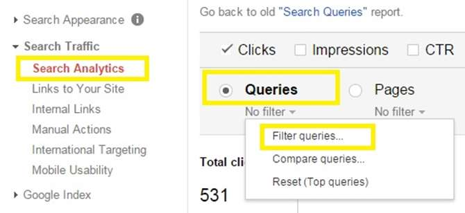 Image of Google Webmaster Tools Search Queries screenshot