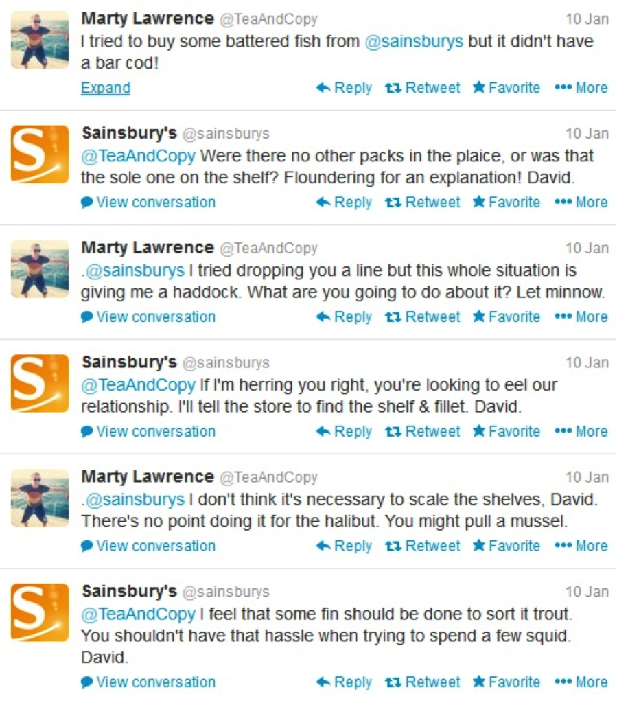 Image of a Sainsbury's Twitter exchange with a customer. Creative customer responses can lead to positive exposure for your business.