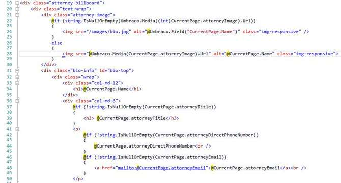 Image of code from Umbraco for attorney bio page