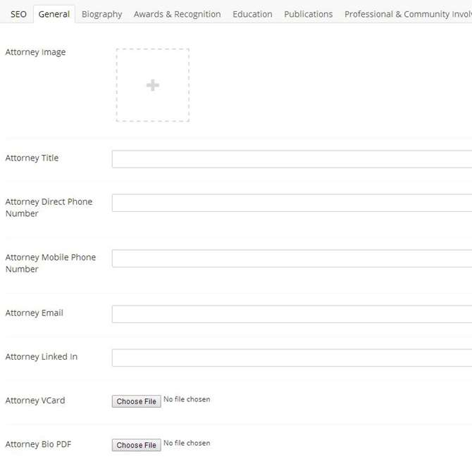 Image of attorney bio page structure in Umbraco CMS. Say goodbye to one large WYSIWYG field.