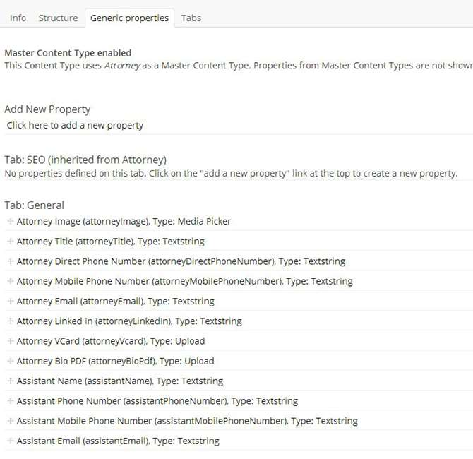 Image of Umbraco properties for attorney bio page structure