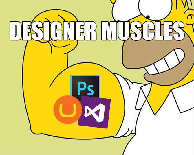 Image of designer muscles. With Umbraco designers can learn code quickly to expand their capabilities.