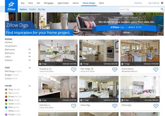 Card-based design on Zillow