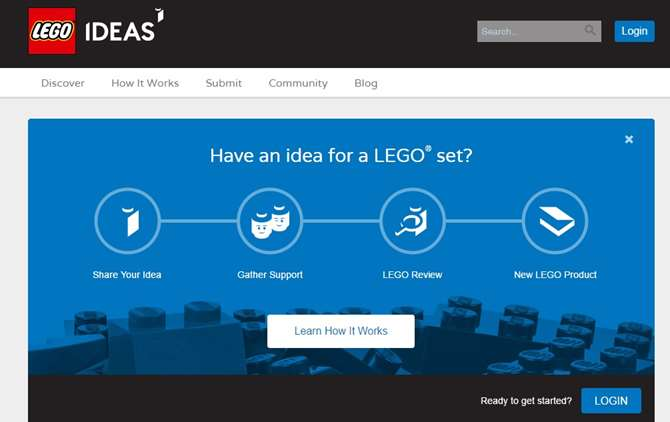 Image of LEGO Ideas Website