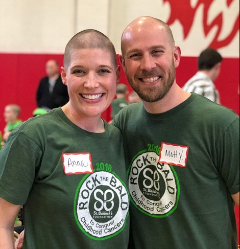 after my head was shaved for the St. Baldricks Foundation
