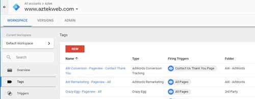 Screenshot of Google Tag Manager interface
