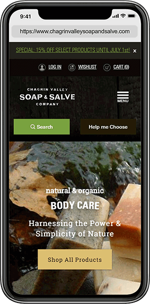 Ecommerce Web Design Case Study: Chagrin Valley Soap | Aztek