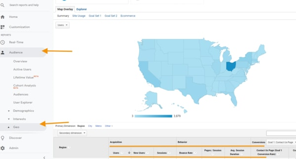 Screenshot of Google Analytics location report