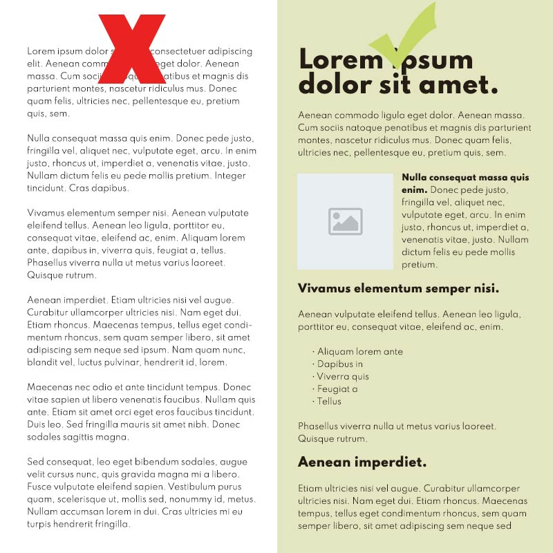 Break up walls of text in your web pages to the layouts are easier to read