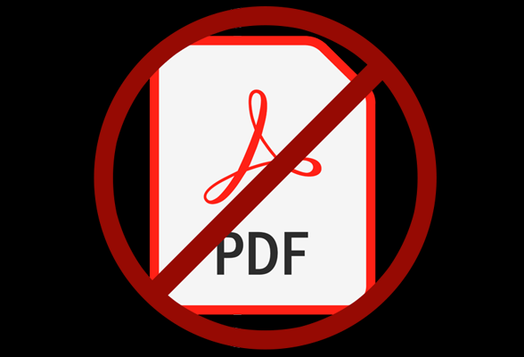 "A ""no"" sign over PDF-only content."