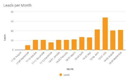 Professional Services - Leads per Month Graph